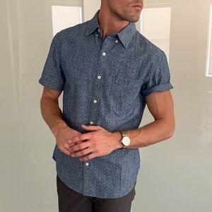 BONOBOS Riviera Short Sleeve Button Up Shirt Blue